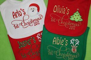 Personalised 1st First Christmas Xmas Baby Bib Script font choose design 2020