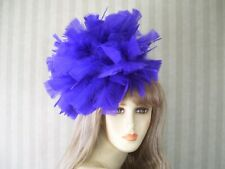 "PURPLE Feather Fascinator Kentucky Derby, Wedding Feather Hat, Easter Hat, 12"""