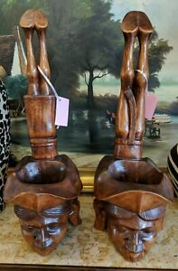 "Pair of Carved Wooden Statues 22"" Male Female Unique"