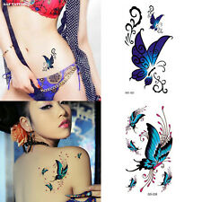 2PCS Blue Butterfly Temporary Tattoo Waterproof Body Arm Stickers Cover Scars