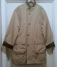 VTG Mens TravelSmith Travel Smith Rain Overcoat Coat Tan Lined Insulated Sz M