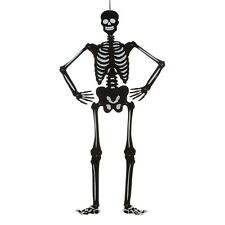 "36"" Halloween Black & Silver Glitter Jointed Hanging Skeleton Party Decoration"