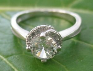 100% REAL 925 sterling silver 8mm Round White CZ Ring size K1/2 -P1/2 GIRL WOMEN