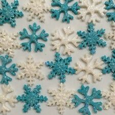 Disney Frozen Edible Snowflakes With Glitter Cake Toppers x (20 )Aqua & White