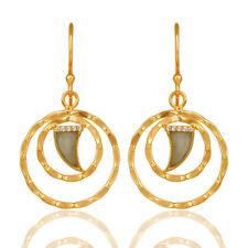 Elegant Women Fashion Jewelry Gemstone Double Rounded Dangle Hook Earrings