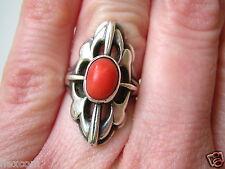 Echter Silber Ring Mit Meisterpunze Koralle Stein 5,2 g RG 51 Silber Schmuck