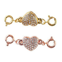 5Pcs Heart Rhinestone Magnetic Clasp Hook for DIY Bracelet Necklace Making