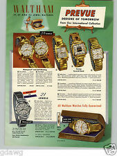 1957 PAPER AD Waltham Wrist Watch 25 Jewels Sea Eagle Cutty Sark Steel Case
