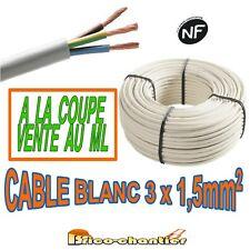 câble électrique blanc souple 3 x 1,5 mm² H05VVF vente au mètre linéaire NF CE