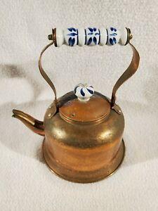 Copper and Brass Tea Pot with Porcelain Delft Blue Handle ~ Oxidation Patina