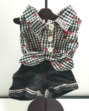 Build-A-Bear Summer Black White Gingham Outfit Denim Shorts Ladybug Tie Up Shirt