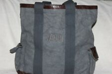 Pottery Barn Union Recycled Canvas-Leather Tote Bag Navy NWOT Free Ship MSRP $99