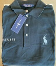 NWT RALPH LAUREN Black Silver Mens Golf Polo Shirt s/s M NETJETS Logo NEW