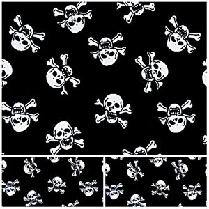 SKULL PIRATE Polycotton Fabric  Craft BLACK LARGE  Metre Material Special Offer
