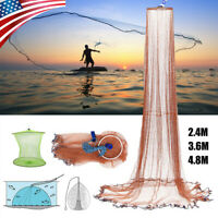 8/12/16FT Fishing Cast Net Bait Easy Throw Hand Cast Strong Nylon Trap Line Mesh
