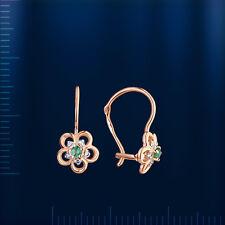 Russengold 585 Goldohrringe mit Brillanten & Smaragd OR83213