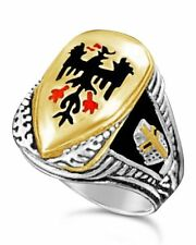 shield ring sterling silver German Eagle Teutonic knights