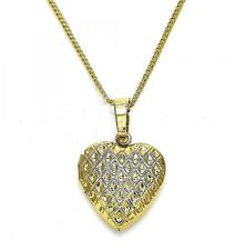 9ct Gold Filled  Small Filigree Heart Locket Pendant  Chain Necklace  570