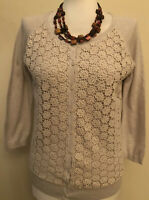 FAT FACE Cream Lacy Front 3/4 Sleeved Cardigan Size 10 100% Cotton