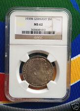 NGC MS 62 1939 B  WW2 5 Mark 90% SILVER German Third Reich Coin