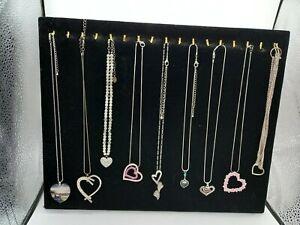 Costume Jewellery Bundle x9 Necklaces Heart Themed inc Silver Tone Rhinestones
