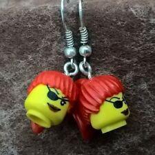 Girl Drop Earrings Great Gift Quirky Fun Lego Head Pirate