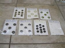 Lot of 7 Full Card Vintage Unusual Value in Fashion Buttons - Estate Find