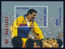 2001 HAGI,Famous Football player,Soccer,Romania,Mi.Bl.317,Watermark VARIETY,MNH