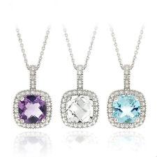 925 Silver Gemstone & Diamond Square Necklace - 3 Options