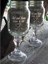 REDNECK WINE GLASSES - 2 Engraved, mason jar, Personalized Wedding, Anniversary