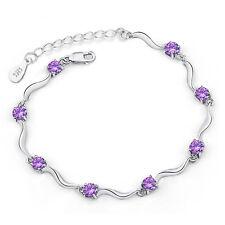 Women's Amethyst Crystal Chain 925 Sterling Silver Bracelet Valentine's Gift