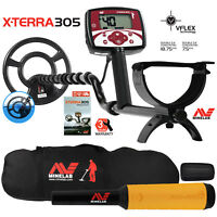 "Minelab X-Terra 305 Metal Detector with 9"" Search Coil, Pro Find 15, Carry Bag"
