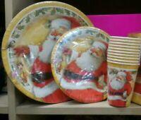 Set piatti e bicchieri di carta Babbo Natale per feste natalizie cenoni