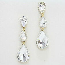 clear/gold  triple crystal tear drop  rhinestone evening earring be3