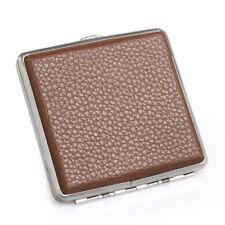 Brown Leather Metal Cigarette Case Holder Box for 20 Regular Size Cigarettes