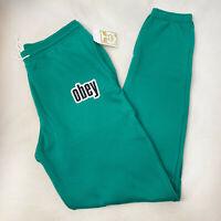 Obey Women's Sweatpants Obey 1990 Avocado Green Size L NWT Shepard Fairey
