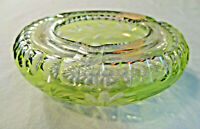 Vintage Heavy Etched Green Ash Tray Heavy Glass Round Cigarette Retro Floral