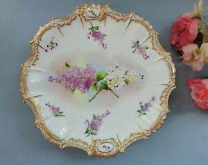 Lovely Art Nouveau hand painted Limoges Cabinet Plate with Lilac