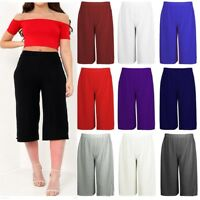 Women Plain Culottes Trousers Flare Leg Crop Trousers 3/4 Ladies Pants Size 8-26