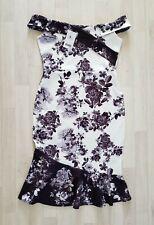 Cola de pescado midi vestido Talla 14 Blanco Floral Negro próxima fiesta ocasión