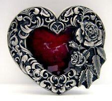 Buckle Rotes Herz, von Rosen umrankt, Vintage, Retro, Gürtelschnalle