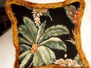 Hawaiian Tropical Cotton Barkcloth Fabric PILLOW /Vintage Fringe ~Koko Head-Blk~