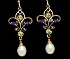 9ct Rose Gold Natural Peridot & Amethyst Chandelier Pearl Suffragette Earrings