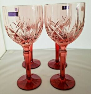 4 Marquis by Waterford Cranberry Water Goblet Pattern Brookside