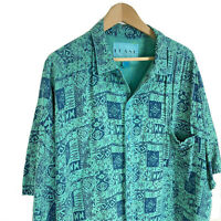 Frank Vintage Retro 90s Men's XL Green Hawaiian Button Down Shirt Rayon Thin