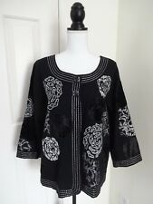 CHOICES Womens XL Black Embellished Velvet & Metallic Lined Jacket MINT