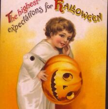 SCARCE ! MECHANICAL ARM MOVES,CLAPSADDLE HALLOWEEN GHOST CHILD,VINTAGE POSTCARD