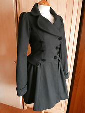 Topshop Black Premium Range Riding [59% Wool] Coat - Size 6 RRP £200
