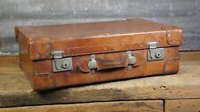 Magnificent Large heavy Duty  1920s Solid Leather Suitcase with Silver Fittings
