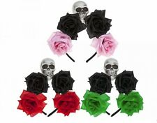 Ladies Halloween Day Of The Dead Rose Skull Headband Mexican Fancy Dress Costume